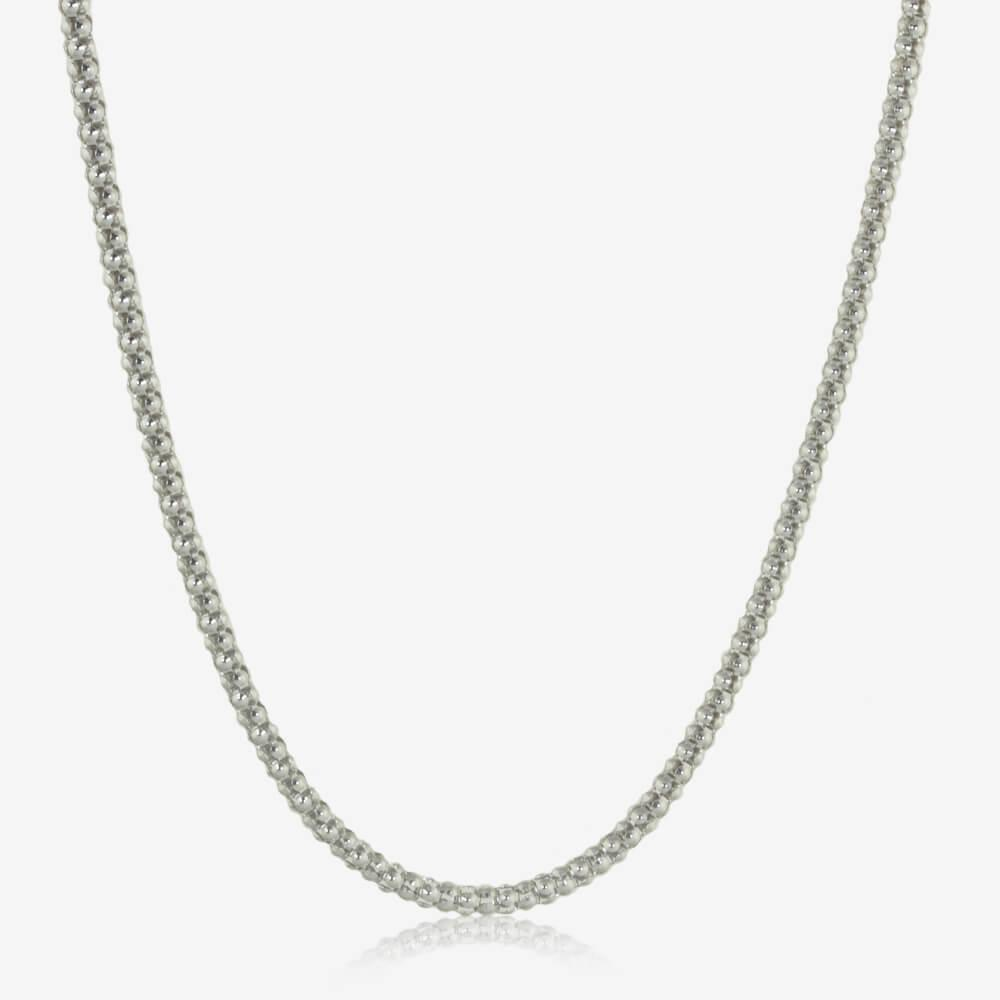 "Silver 20"" Ladies Popcorn Chain"