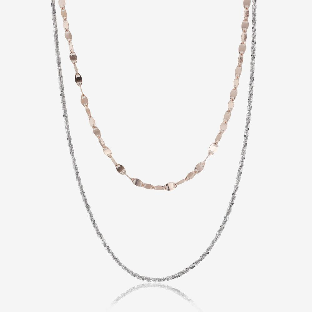 Sterling Silver Two Strand Choker Chain Necklace
