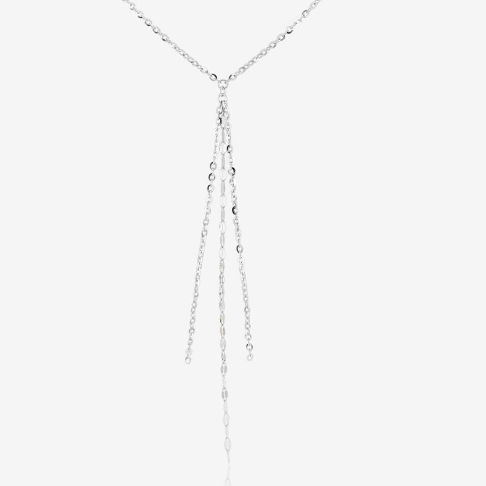 "Ladies Sterling Silver 17"" Tassel 'Y' Chain Necklace"