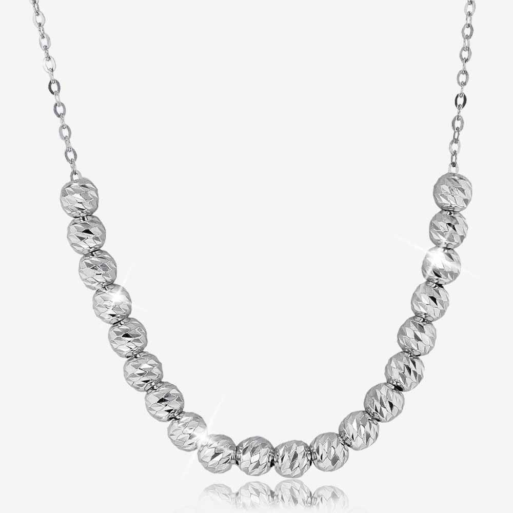 "Sterling Silver  18"" Sparkle Bead Necklace"