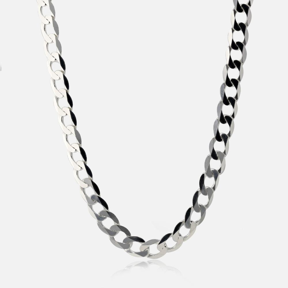 "Silver 30"" Diamond Cut Curb Chain"