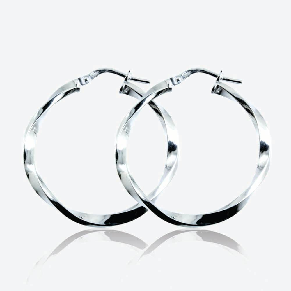 Silver Twist Creole Earrings 30mm