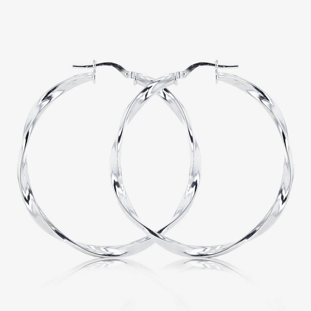Silver Twist Creole Earrings 40mm