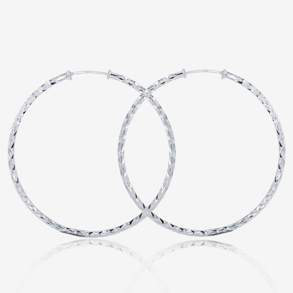 d477aa8b8 Sterling Silver Diamond Cut Hoop Earrings