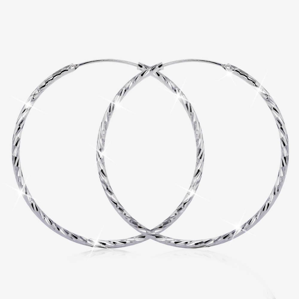 Sterling Silver Diamond Cut Hoop Earrings, Large