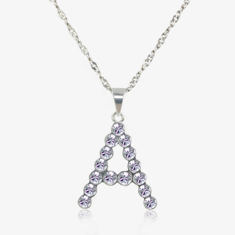 9c8a83d43b0f3 Sterling Silver A Initial Necklace Made With Swarovski Crystals