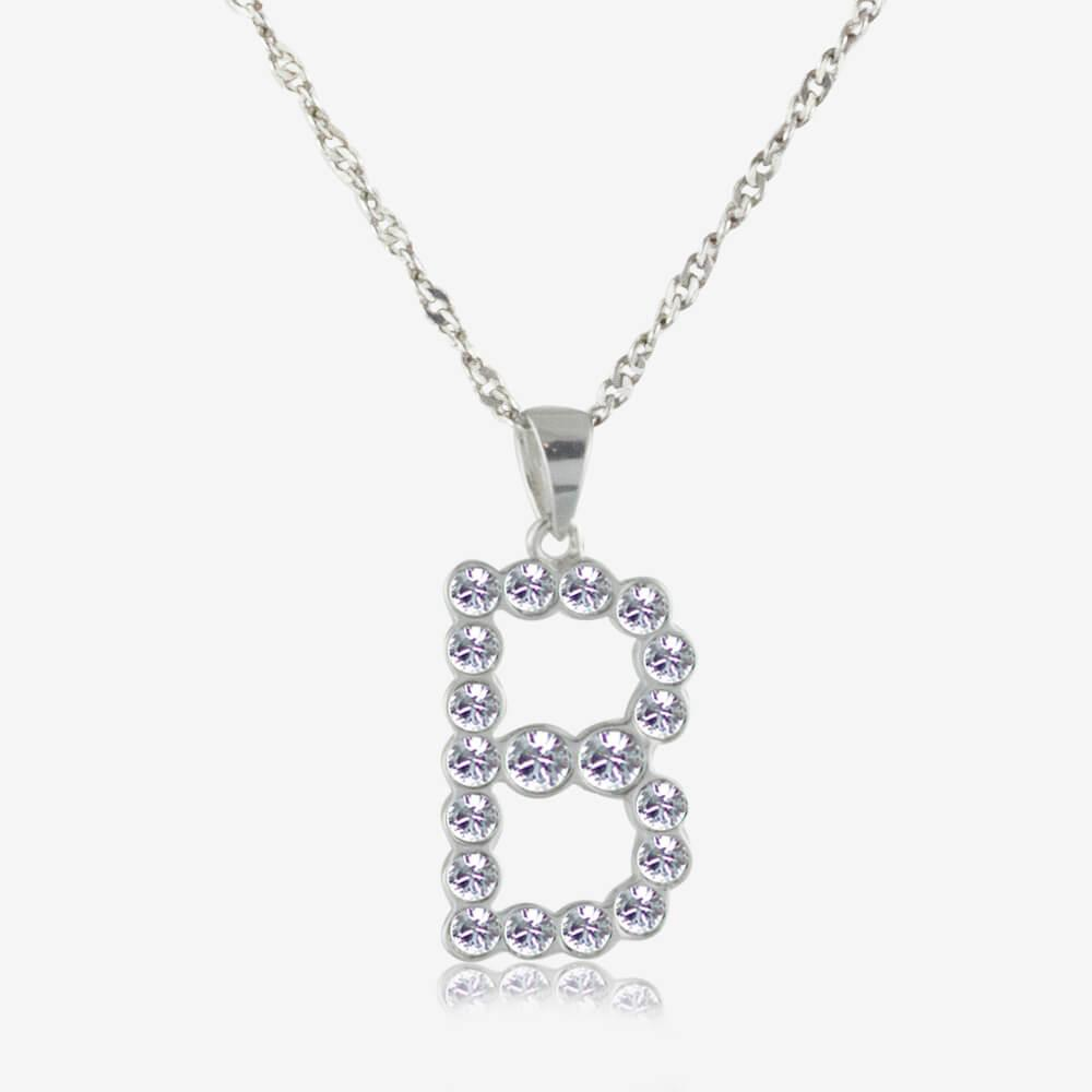 Sterling Silver 'B' Initial Necklace Made With Swarovski<sup>®</sup> Crystals