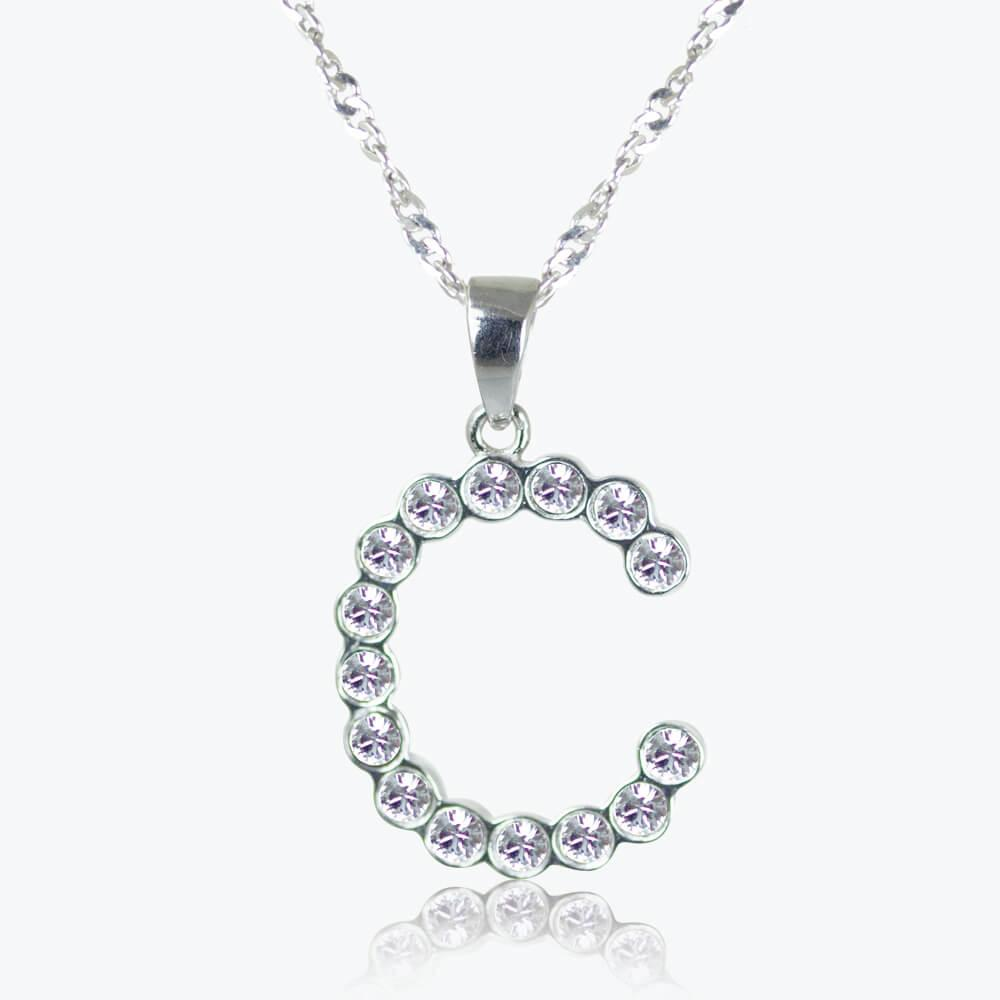 Sterling Silver &#39;C&#39; Initial Necklace Made With Swarovski<sup>&reg;</sup> Crystals