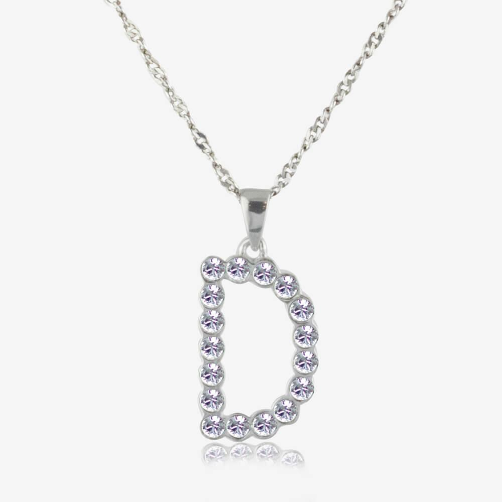 8dad854bcfd72 Sterling Silver D Initial Necklace Made With Swarovski Crystals