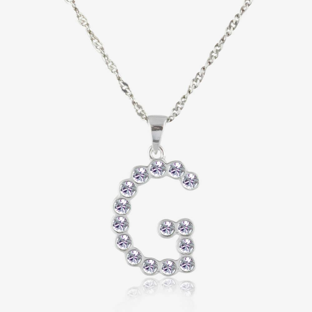 Sterling Silver &#39;G&#39; Initial Necklace Made With Swarovski<sup>&reg;</sup> Crystals