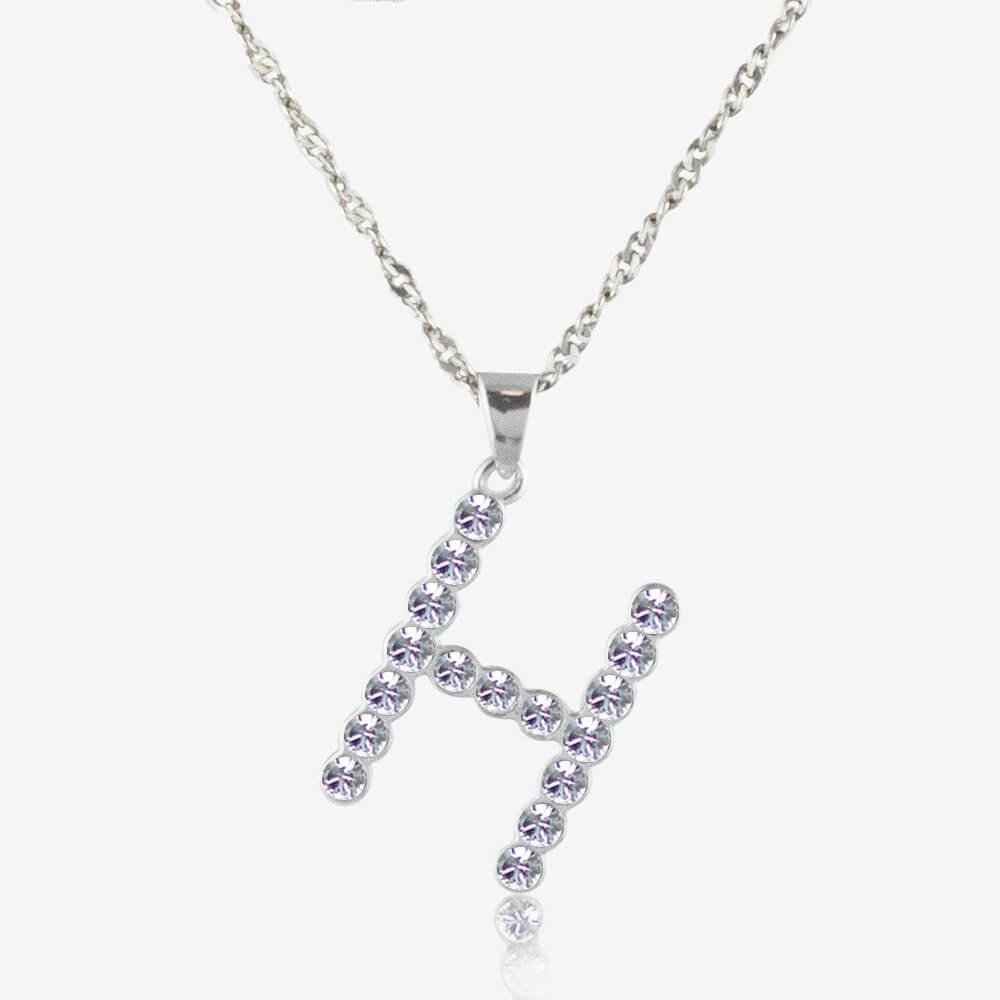 2f308713d194d5 sterling silver  h  initial necklace made with swarovskisup® sup cry.