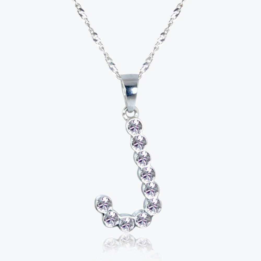 dbc7064b57430 Sterling Silver J Initial Necklace Made With Swarovski Crystals