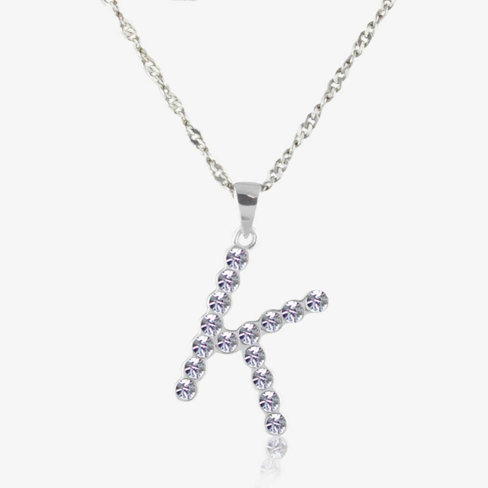 Sterling Silver K Initial Necklace Made With Swarovski