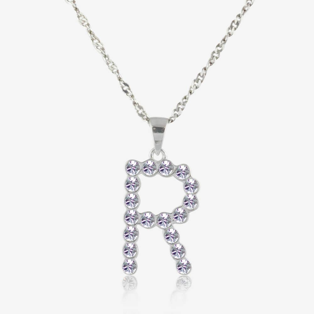 Sterling Silver R Initial Necklace Made With Swarovski