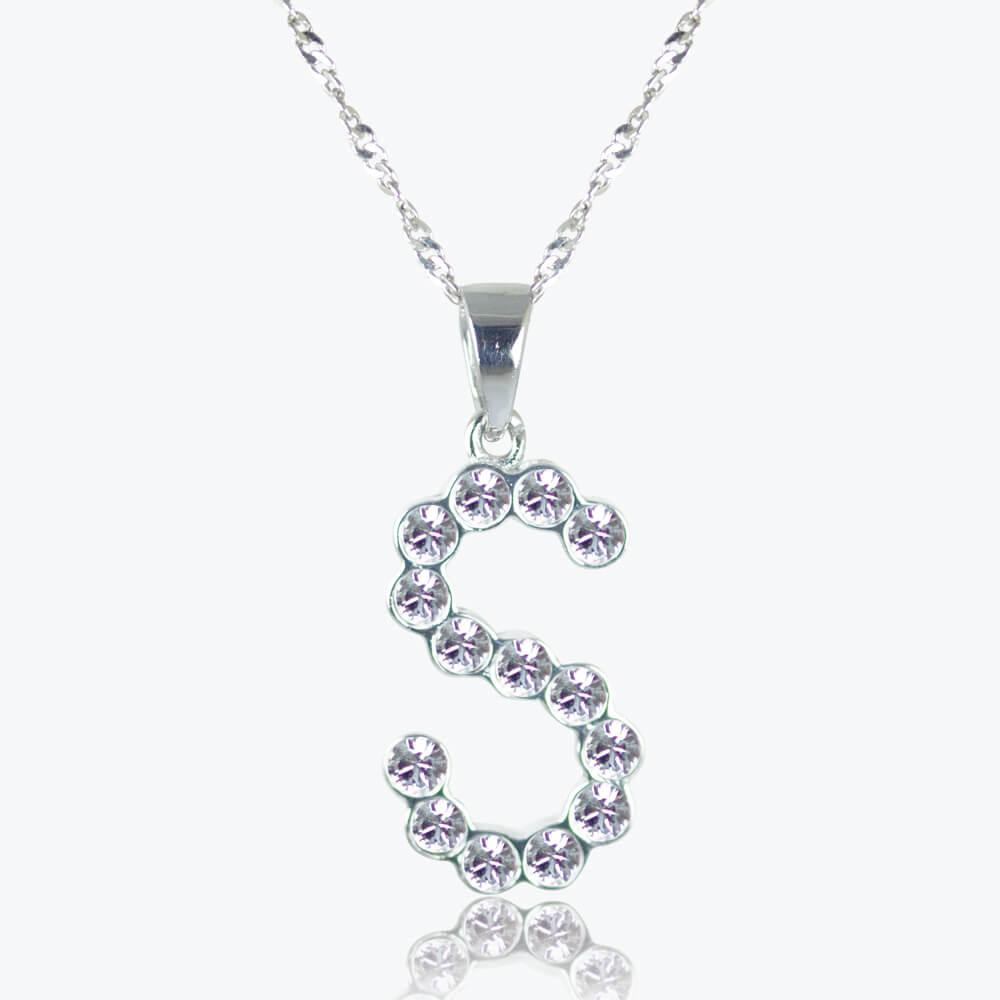 Silver 'S' Initial Necklace Made With Swarovski<sup>®</sup> Crystals