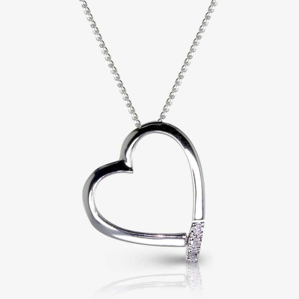 roxanna sterling silver heart necklace with diamond. Black Bedroom Furniture Sets. Home Design Ideas