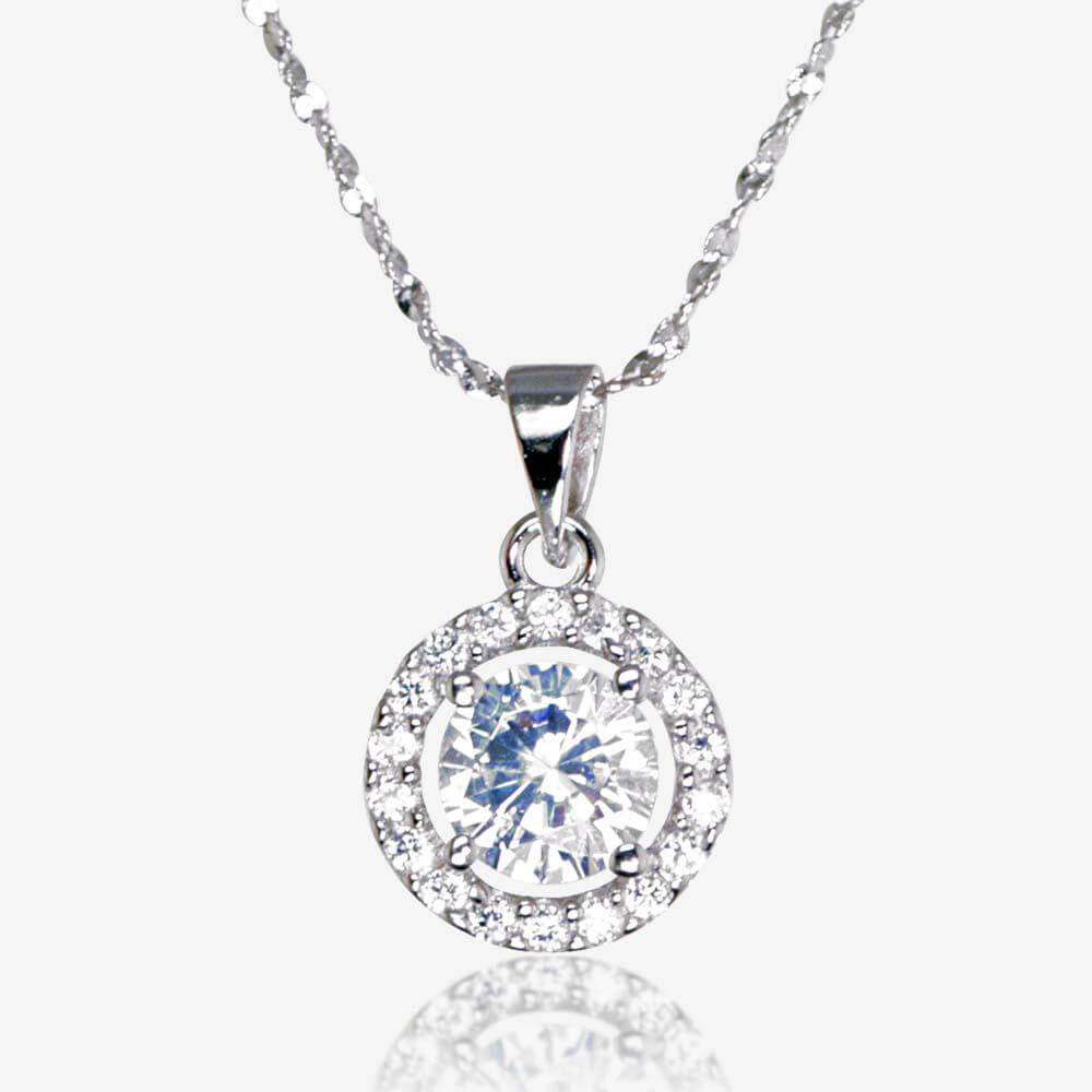 the amelia sterling silver diamonflash cubic zirconia necklace