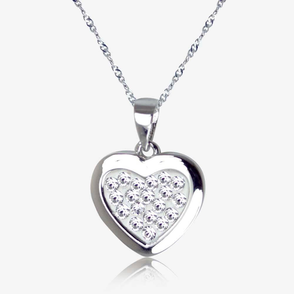 Tania Sterling Silver Heart Necklace Made With Swarovski