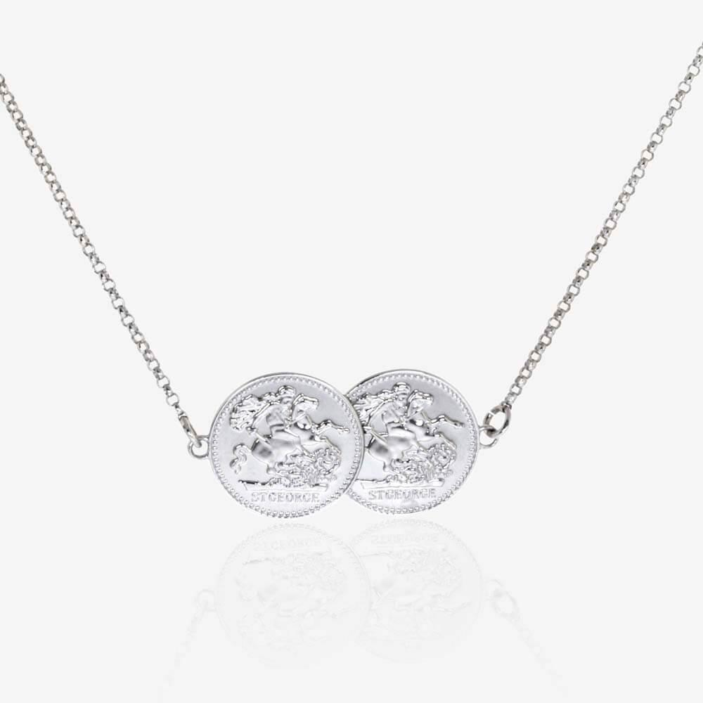 Sterling Silver Double Coin Necklace