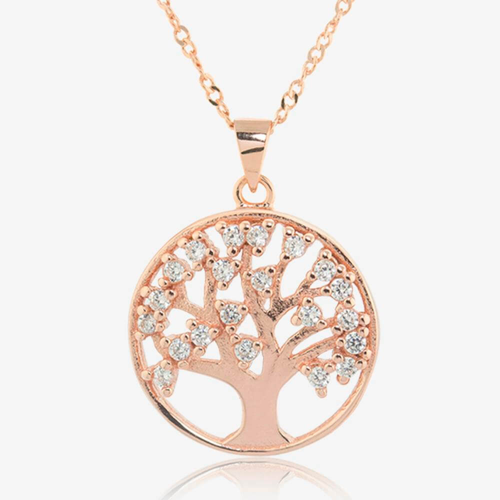 Sterling Silver Life's Tree Necklace With Rose Gold Finish