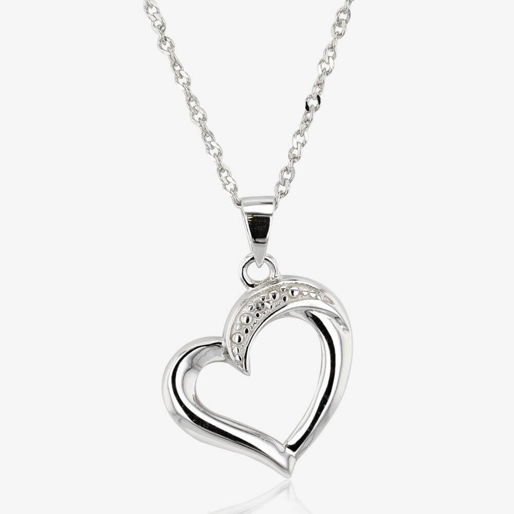 Silver Diamond Heart Necklace