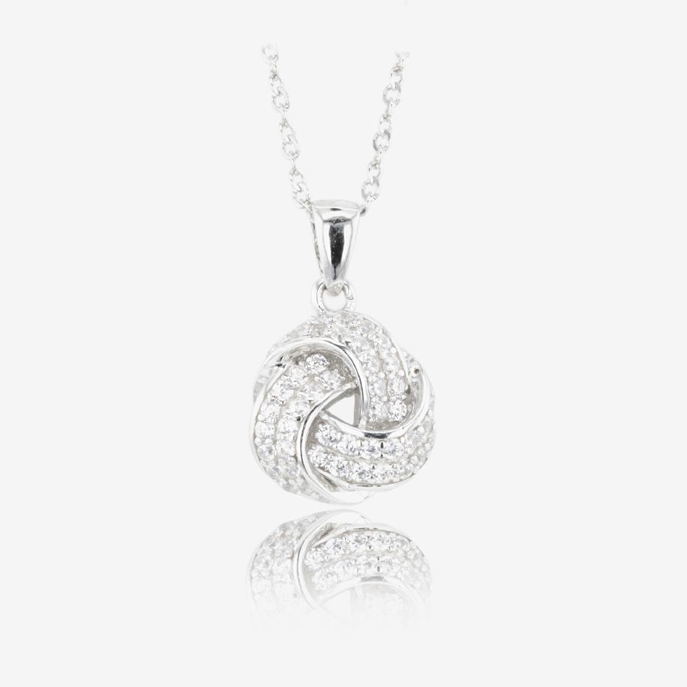 Sterling Silver DiamonFlash<sup>®</sup> Cubic Zirconia Knot Necklace