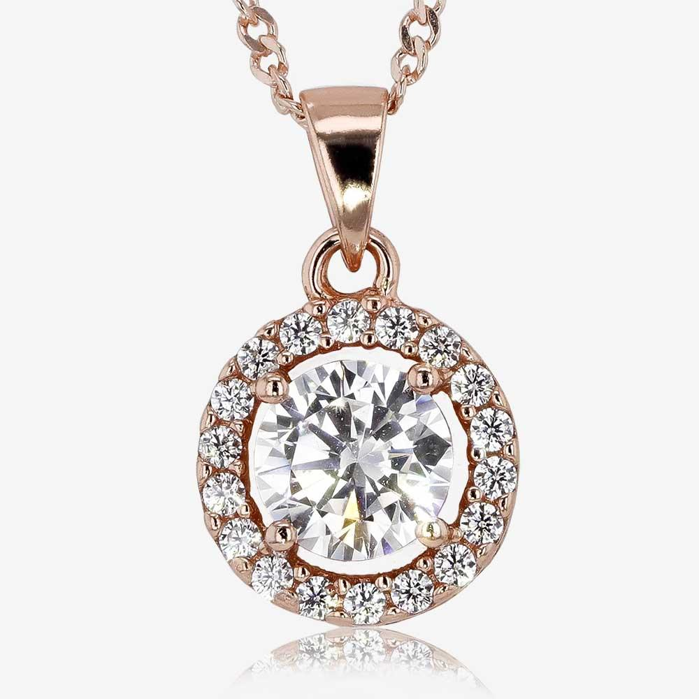 Silver CZ Halo Rose Gold Finish Necklace and Earrings Set