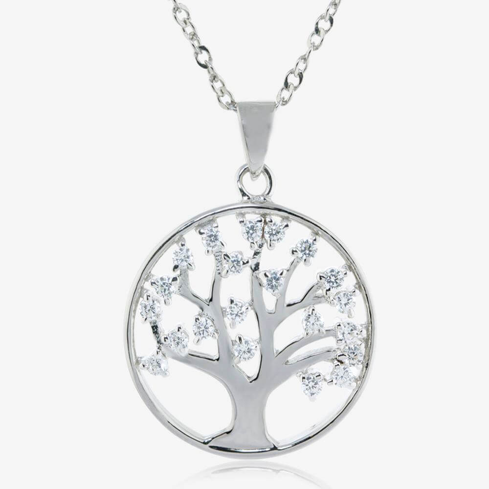 Silver Life's Tree CZ Necklace, Earrings and Bangle Set