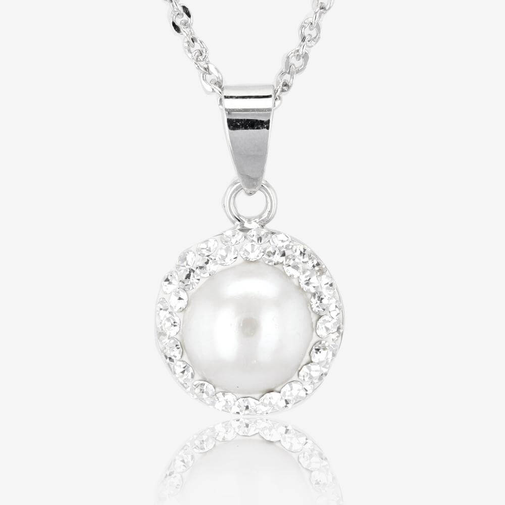 Silver Cultured Freshwater Pearl and Crystal Necklace