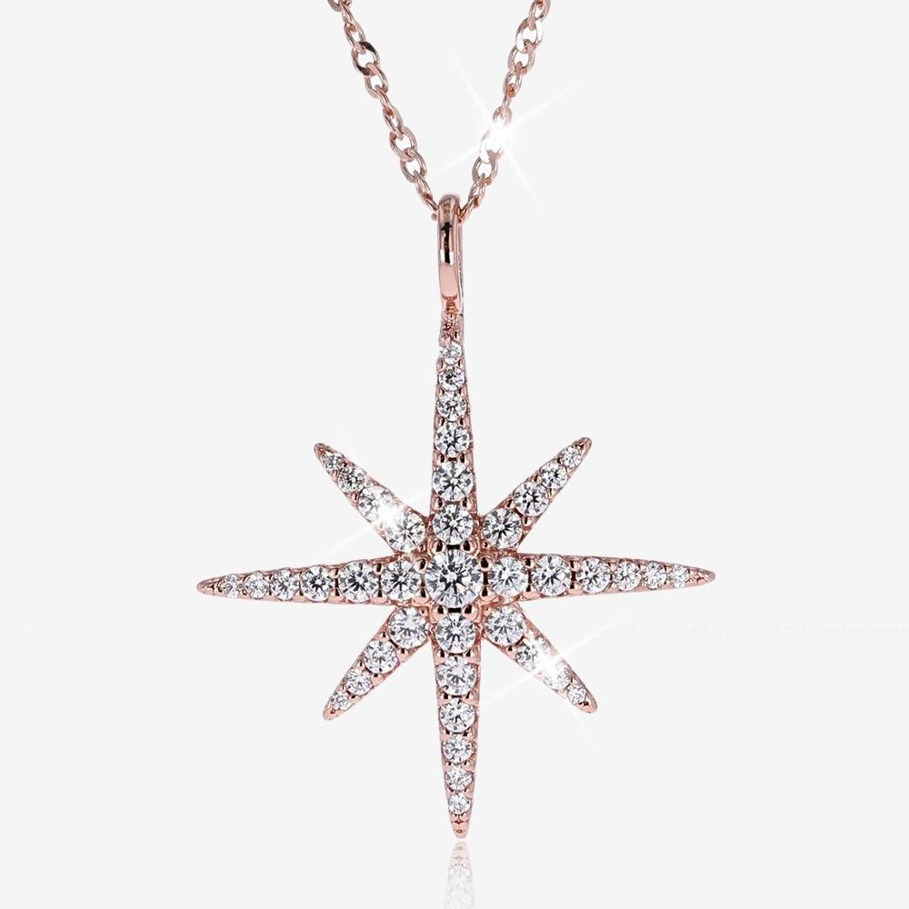 Silver Star Necklace Rose Gold Finish
