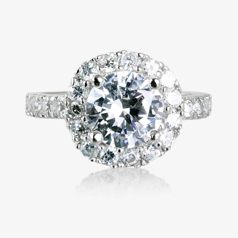 Warren James Mens Wedding Rings: Diana Sterling Silver DiamonFlash Cubic Zirconia Cluster Ring