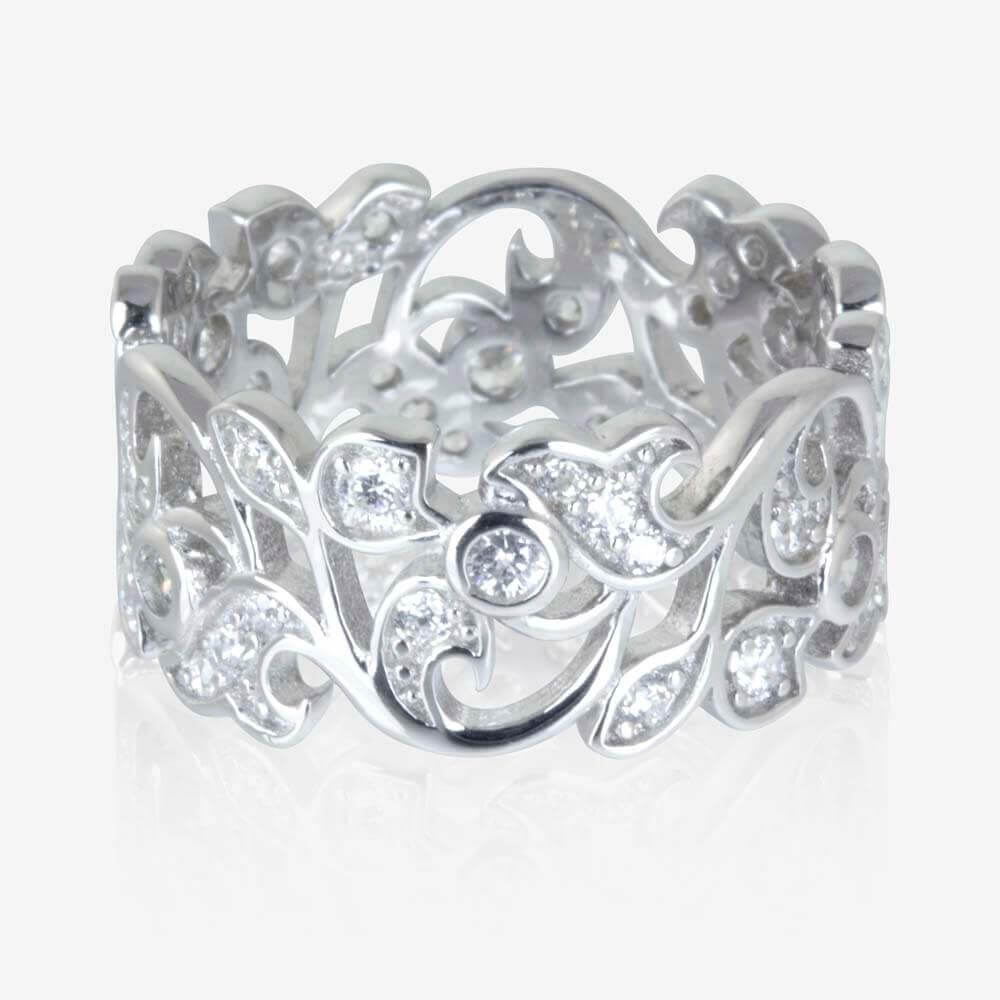 Carolina Sterling Silver DiamonFlash<sup>®</sup> Cubic Zirconia Ring