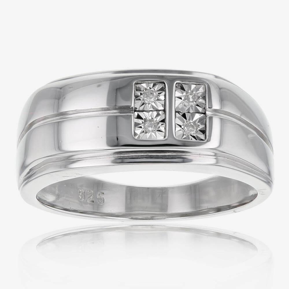 Warren James Mens Wedding Rings: Sterling Silver And Diamond Men's Ring