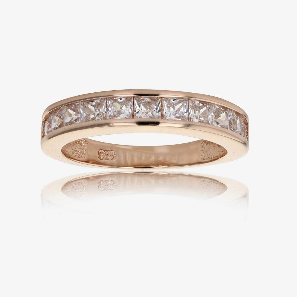 sylvie in gold diamond band double eternity half bands rose row
