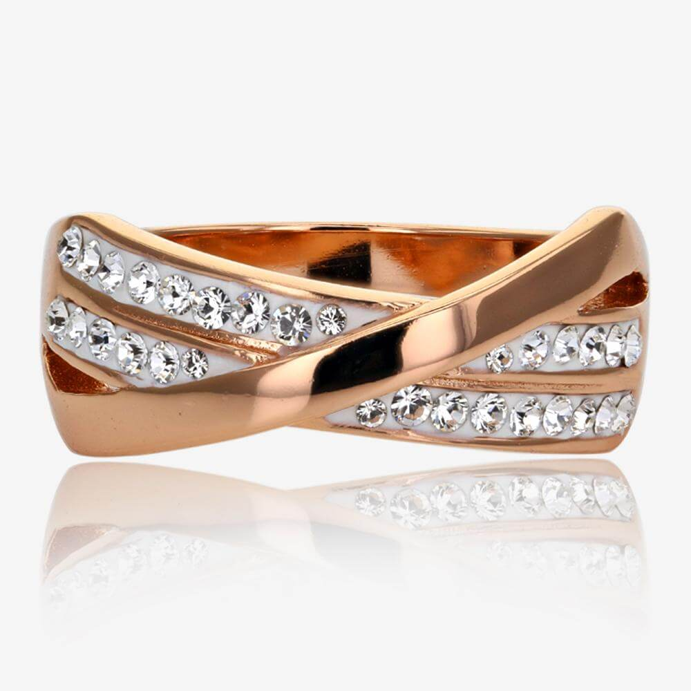 Rose Gold Finish Lucille Sterling Silver Ring Made With Swarovski<sup>®</sup> Crystals