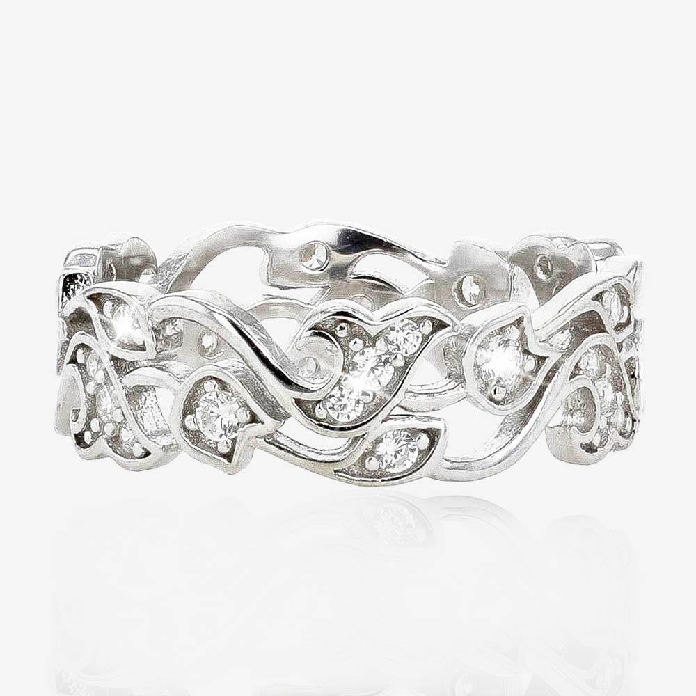 Warren James Mens Wedding Rings: Carolina Sterling Silver DiamonFlash® Cubic Zirconia Ring