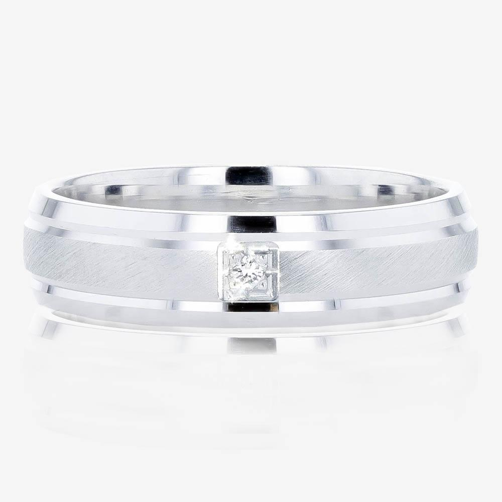 Ladies Sterling Silver Diamond Band Ring