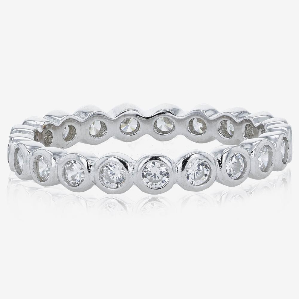 Sterling Silver DiamonFlash<sup>&reg;</sup> Cubic Zirconia Set Of 3 Stacking Rings