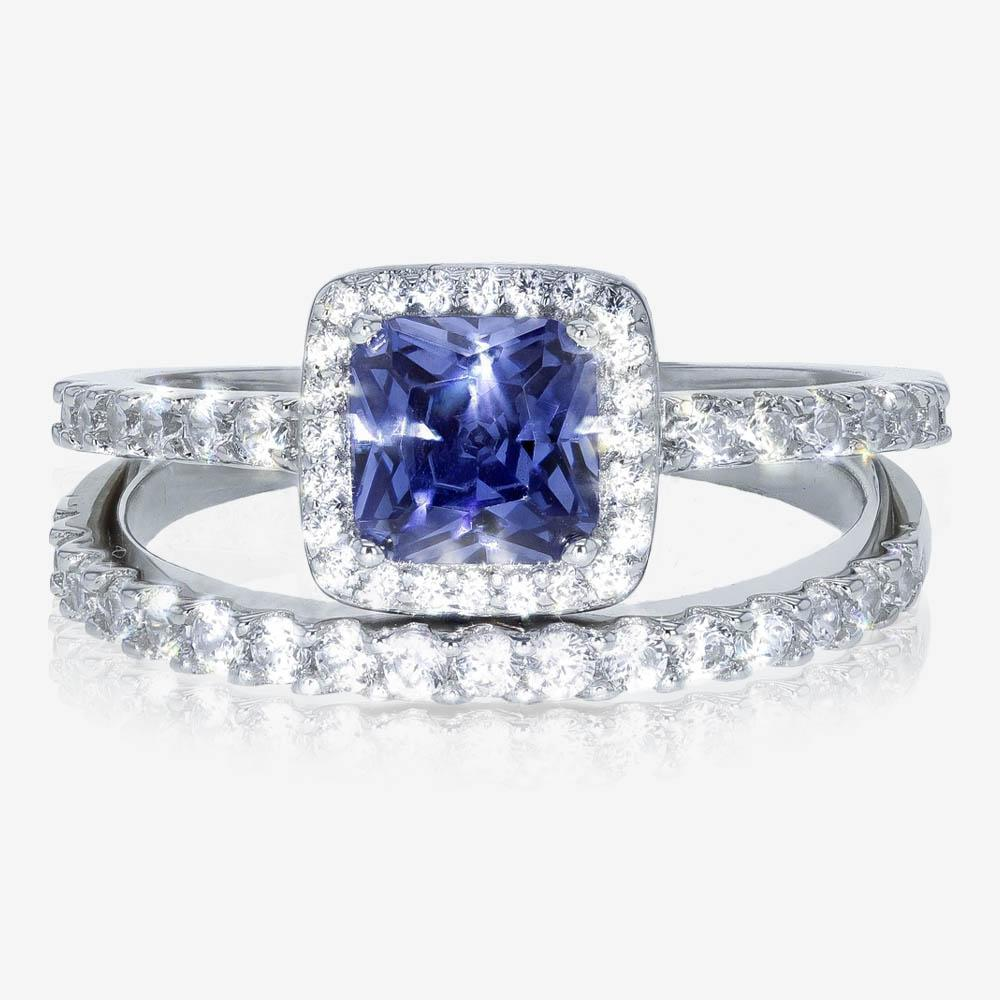 Tara Sterling Silver Tanzanite Coloured 2 Ring Duet Set