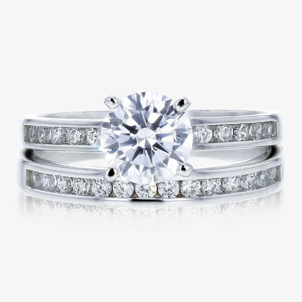 Sterling Silver DiamonFlash<sup>®</sup> Duet 2 Ring Set