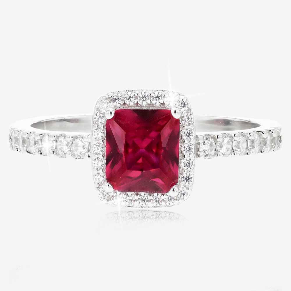 Tara Sterling Silver Ruby Coloured 2 Ring Duet Set