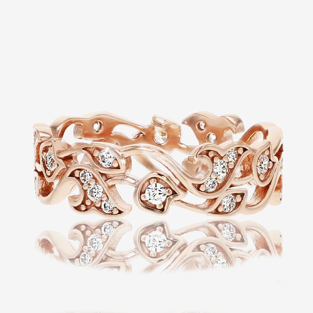 Carolina Sterling Silver DiamonFlash<sup>®</sup> Ring - Rose Gold Finish