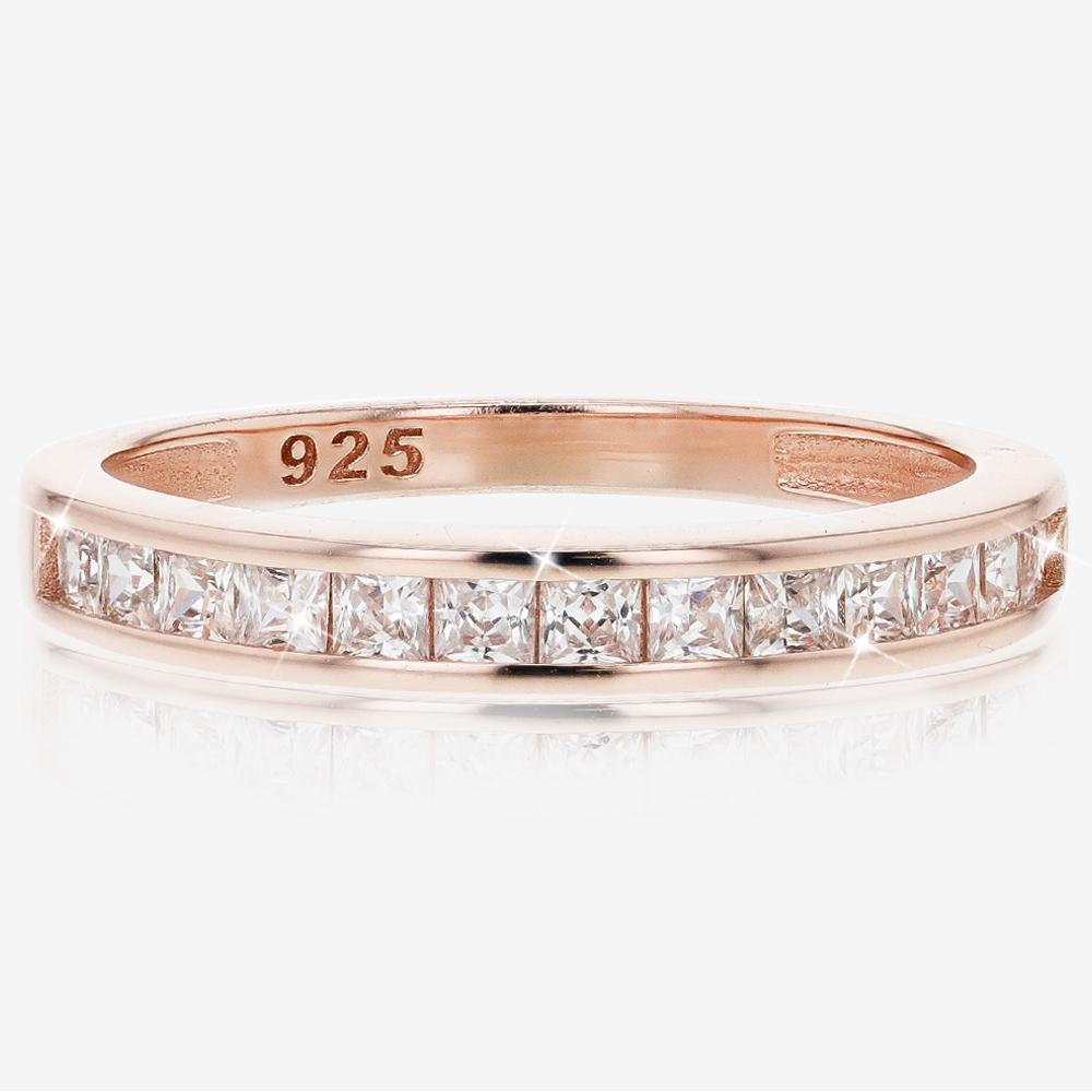 Sterling Silver DiamonFlash<sup>&reg;</sup> Cubic Zirconia Rose Gold Finish Eternity Ring