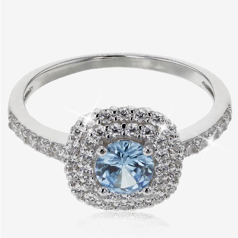 Sterling Silver Aqua Coloured DiamonFlash® Cluster Ring