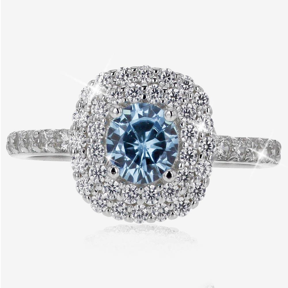 Sterling Silver Aqua Coloured DiamonFlash® Cubic Zirconia Cluster Ring
