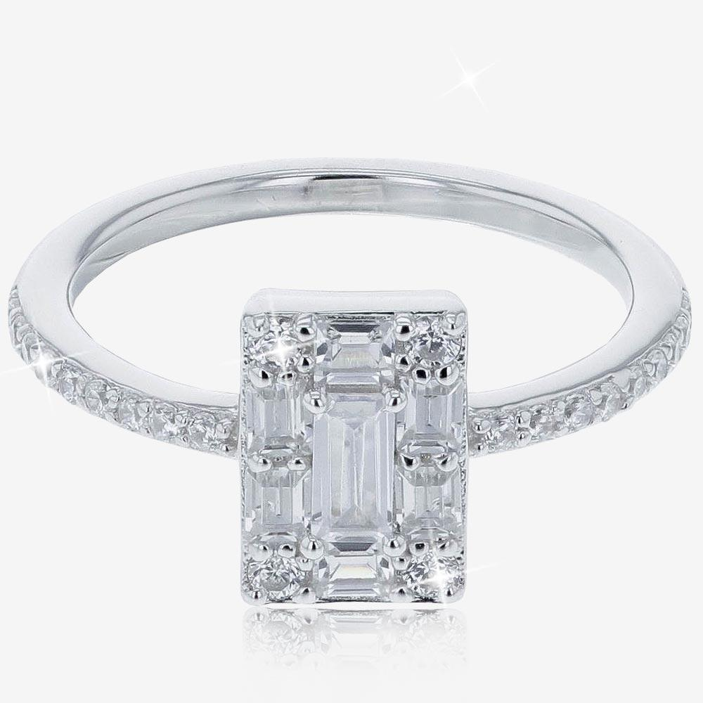 Sterling Silver DiamonFlash® Cubic Zirconia Ring