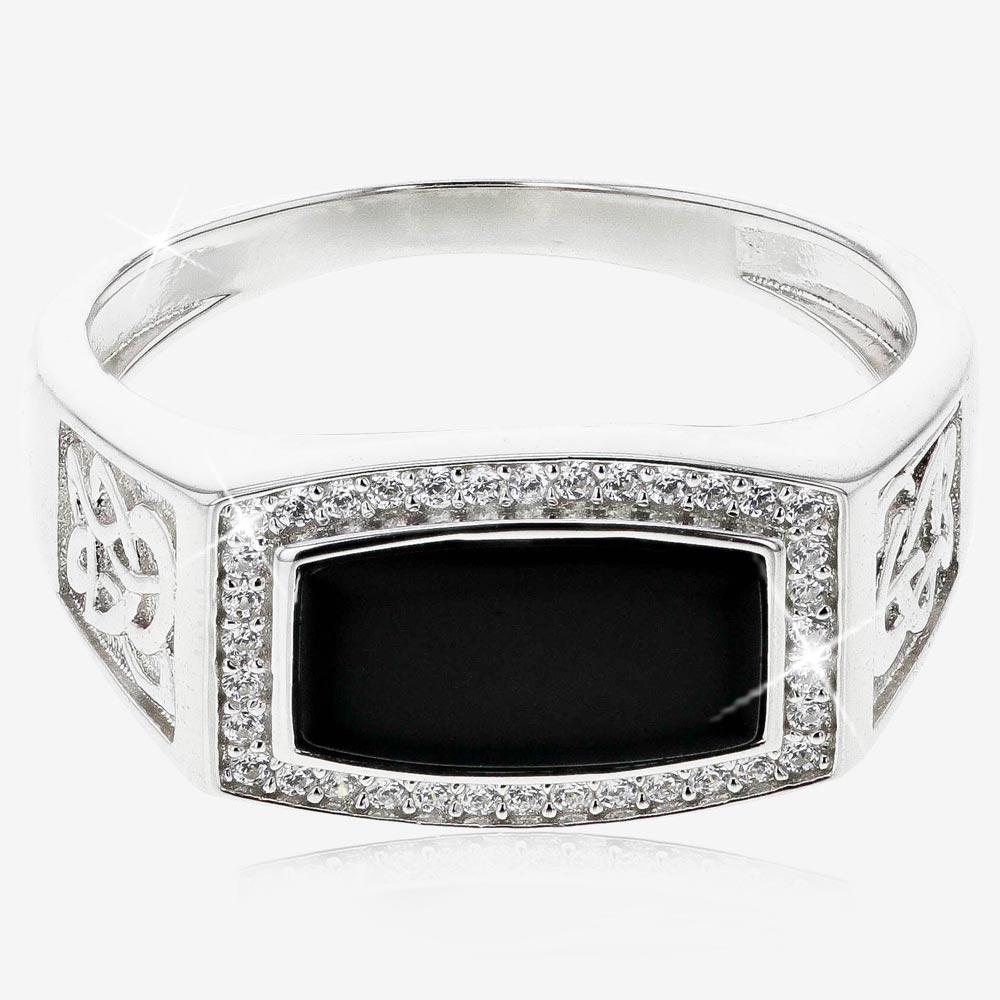 Men's Sterling Silver Onyx Ring