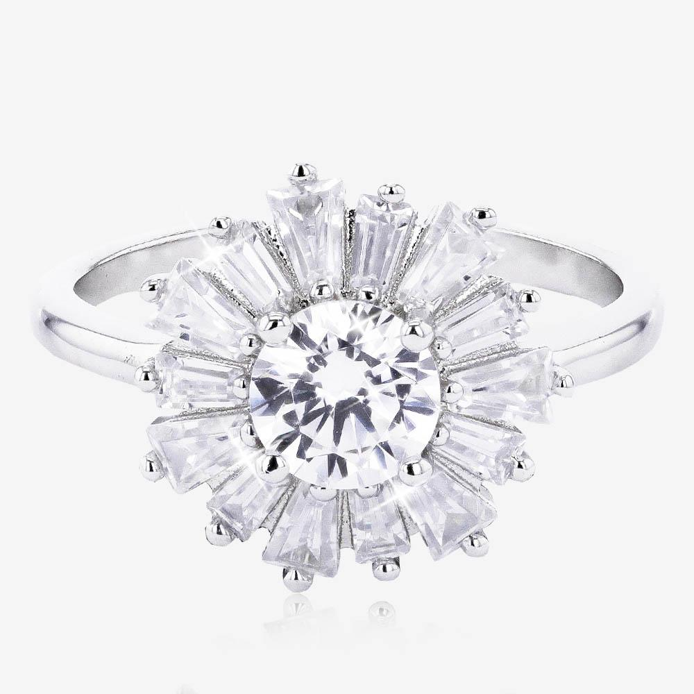 Silver CZ Baguette Swirl Cluster Ring