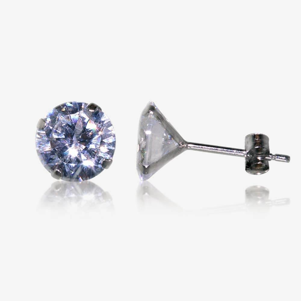 9ct white gold diamonflash cubic zirconia stud earrings