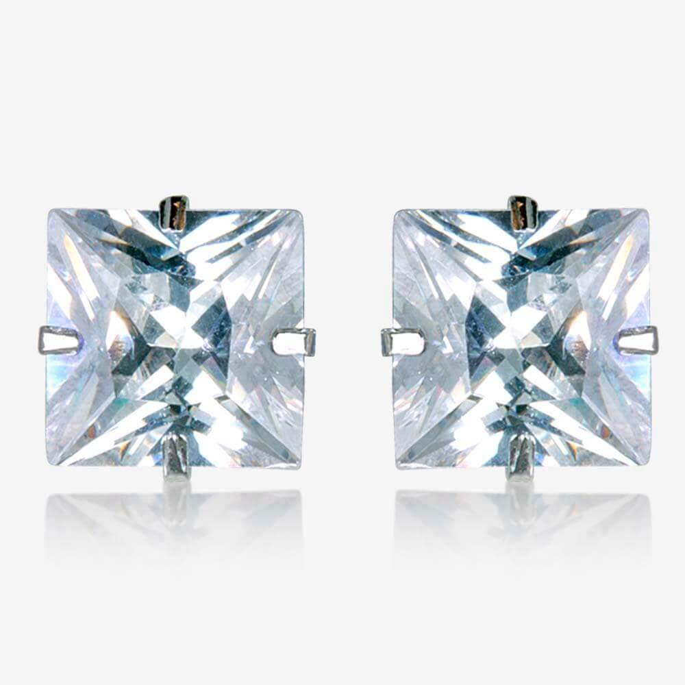 9ct White Gold Princess Cut Stud Earrings